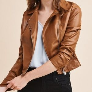 DYNAMITE Camel Moto Leather Jacket -Size S
